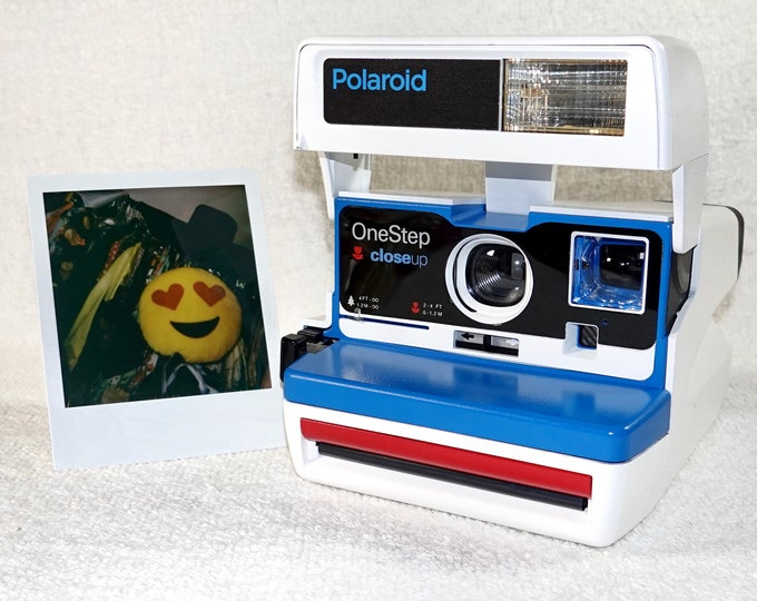 Custom Built Upcycled White, Blue and Red Polaroid 600 OneStep With Close Up And Flash Built-In