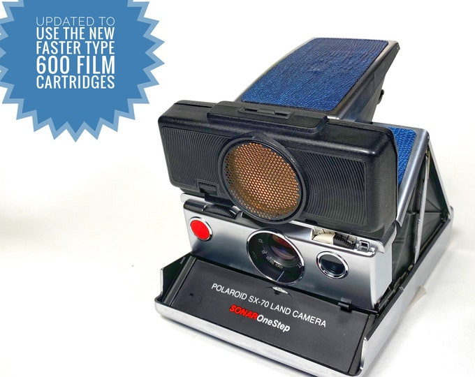 Rebuilt SX70 Sonar with fun lizard like textured blue skins - updated for 600 film