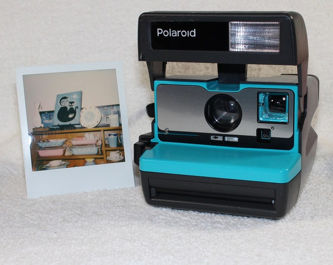 Turquoise with Brushed Silver Front Tested Polaroid 600 OneStep With Close Up And Flash Built-In