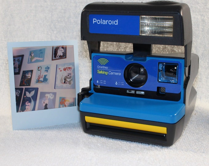 Talking Polaroid 600 OneStep With Close Up And Flash Built-In - Upcycled With Blue and Yellow