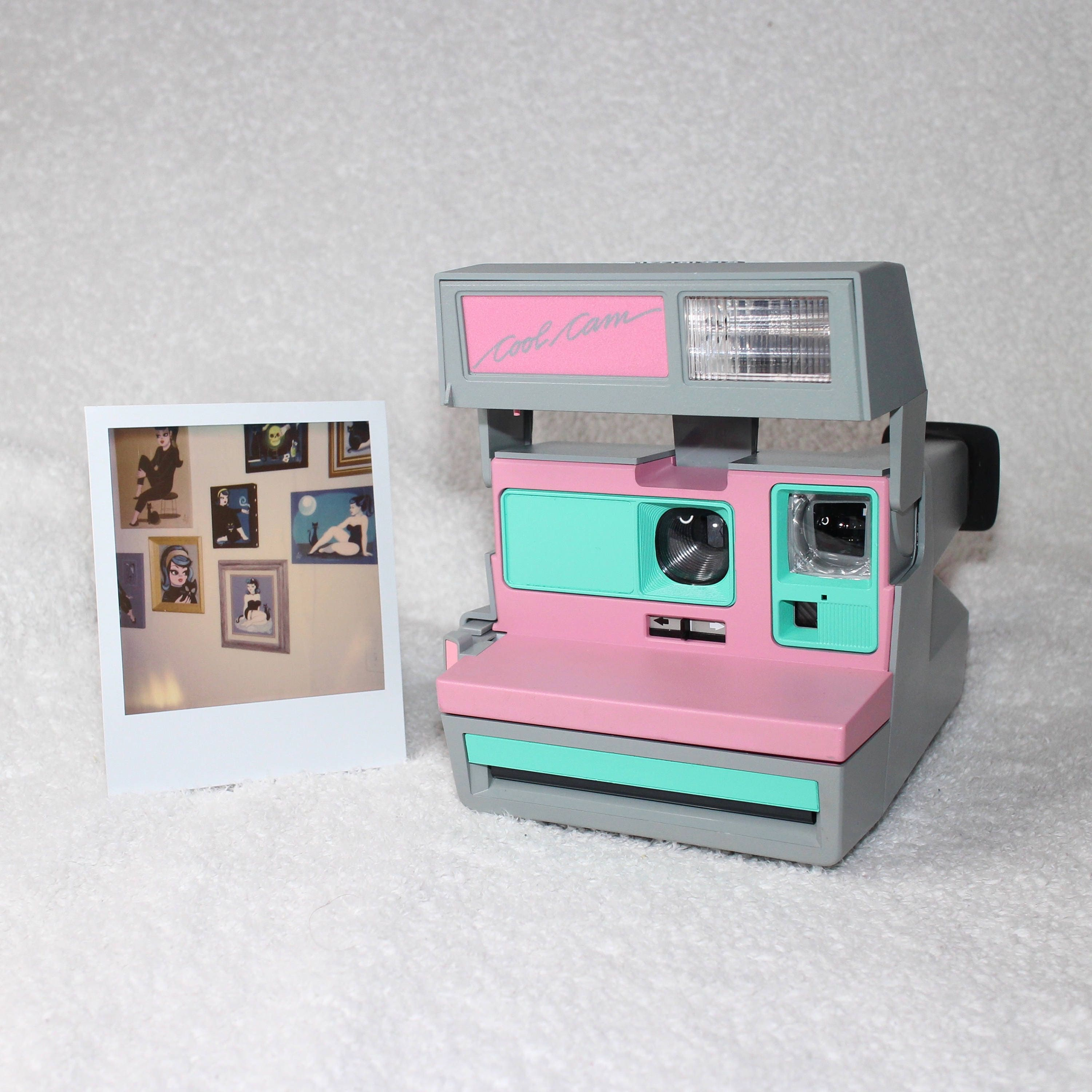 Pink CoolCam 600 Polaroid Camera Upcycled with Retro Green
