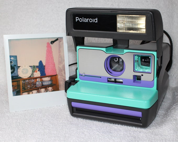 Retro Green, Purple and Brushed Silver Polaroid 600 OneStep - Cleaned, Tested, and Ready For Fun