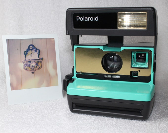 Retro Green with Brushed Gold Front Tested Polaroid 600 OneStep With Close Up And Flash Built-In