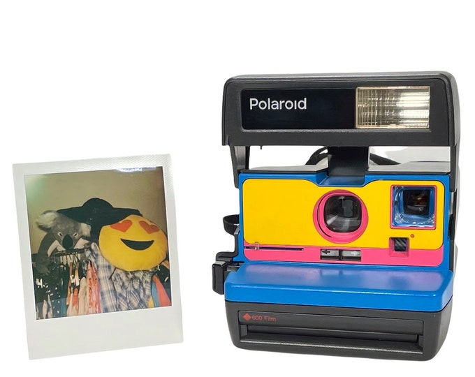 Ready To Go! Upcycled Blue, Yellow and Pink Polaroid 600 OneStep