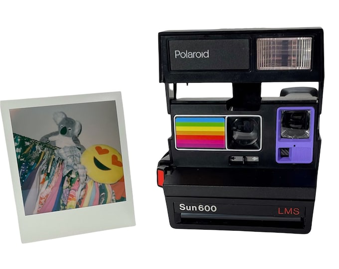 Polaroid Sun 600 with Upcycled purple and rainbow face - Refreshed, Cleaned and Tested