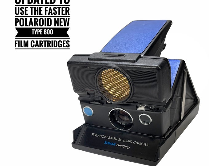 Rebuilt Polaroid SX70 SE Sonar Autofocus special black body - Updated to use 600 Film Cartridges and New Blue Skins