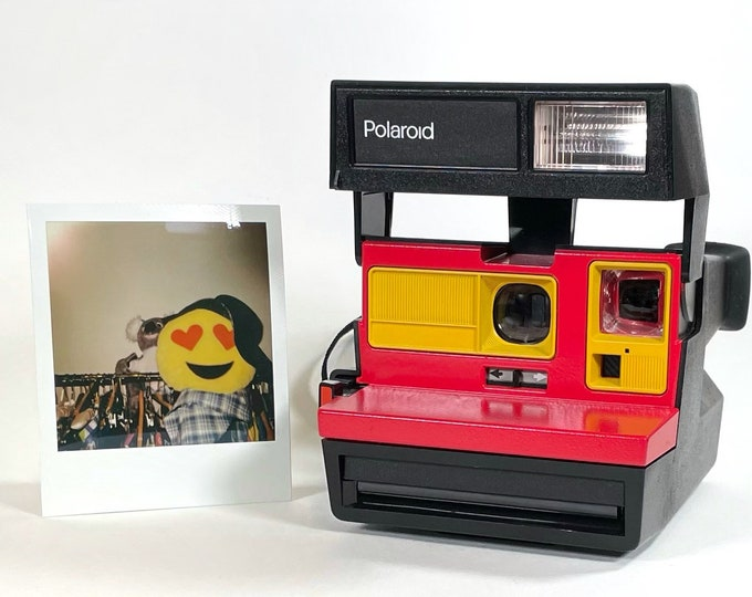 Polaroid Sun 600 with Upcycled yellow and red face - Refreshed, Cleaned and Tested