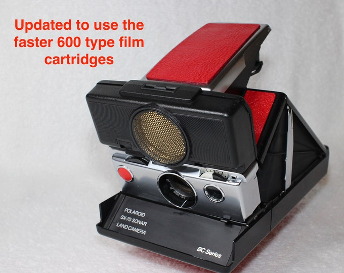 Rebuilt Polaroid SX70 Autofocus Black Body BC Series - Updated to use 600 Film Cartridges and New Red Skins