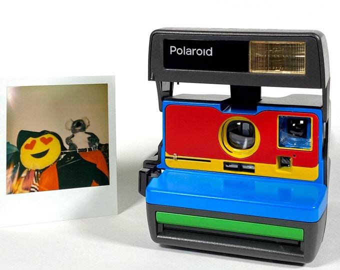 Upcycled Working Polaroid 600 OneStep - Blue, Red, Yellow and Green With Built-In Close Up And Flash