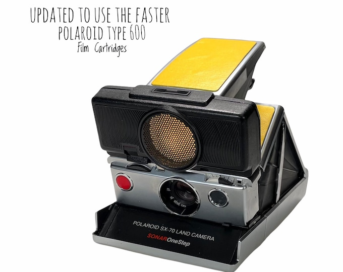 Rebuilt Polaroid SX70 Sonar Autofocus  - Updated to use 600 Film Cartridges and New Yellow Skins