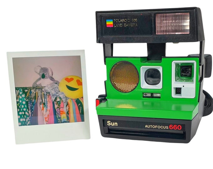 Polaroid 660 AutoFucus Upcycled Green and White - Cleaned, Refreshed and Ready for Fun