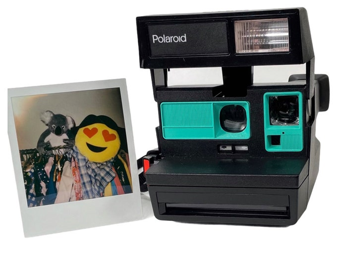 Upcycled Polaroid Sun 600 with Retro Green - Cleaned and Tested