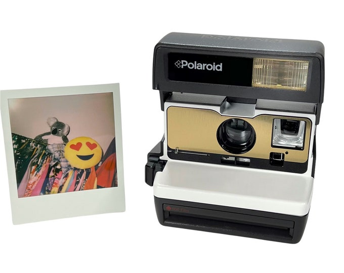White with Brushed Gold Front - Refreshed Polaroid 600 OneStep With Close Up And Flash Built-In