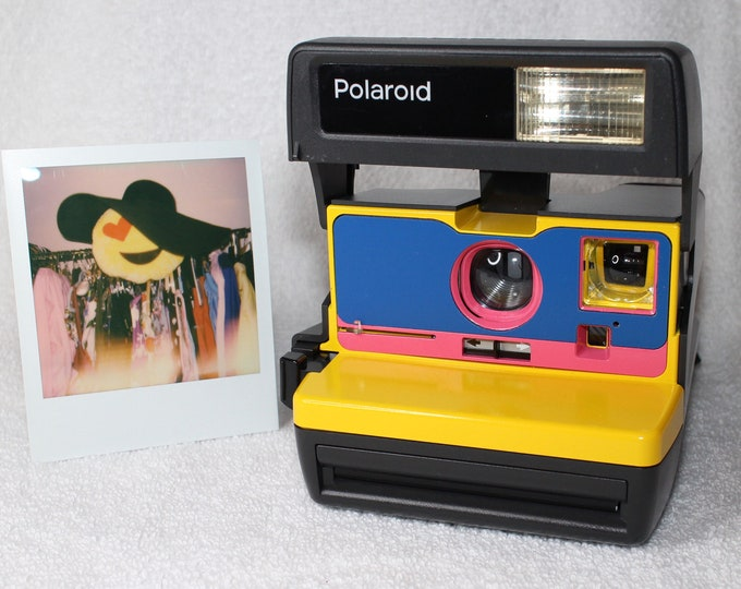 Ready For Fun! Upcycled Yellow, Blue and Pink Polaroid 600 OneStep