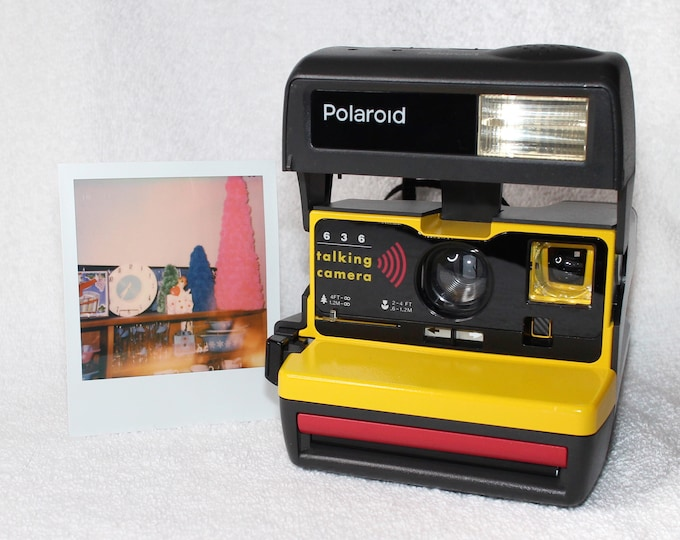 Talking Polaroid 600 OneStep With Close Up And Flash Built-In - Upcycled With Yellow