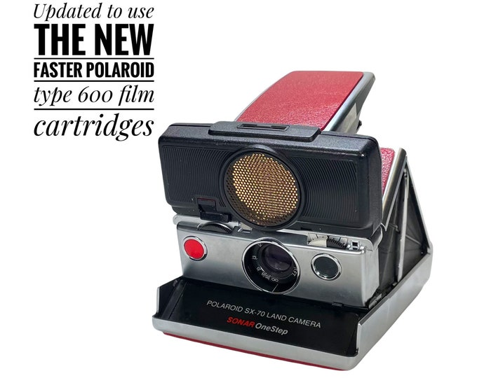 Rebuilt SX70 Sonar with red wine skins - updated for 600 film
