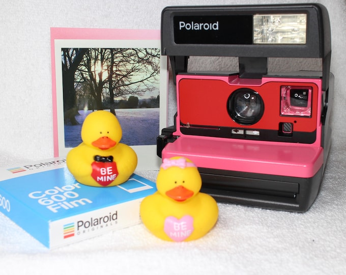 With Love Polaroid Bundle - Upcycled Polaroid 600, Card, Valentine Rubber Duckies and a New Pack of Color Film