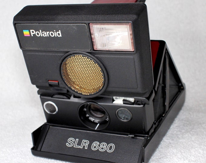 Rebuilt Wine Red skinned Polaroid SLR 680 Camera with new 3D Printed Upper Housing