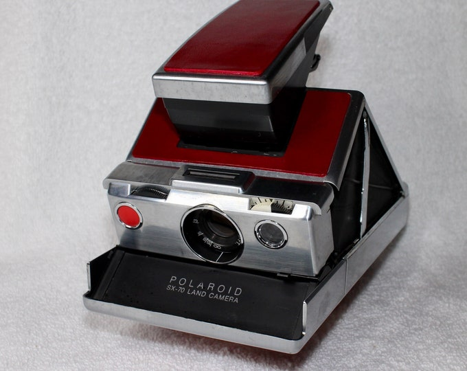 Rebuilt Original Model 1 Polaroid SX70 - Updated With Fun Red Skins