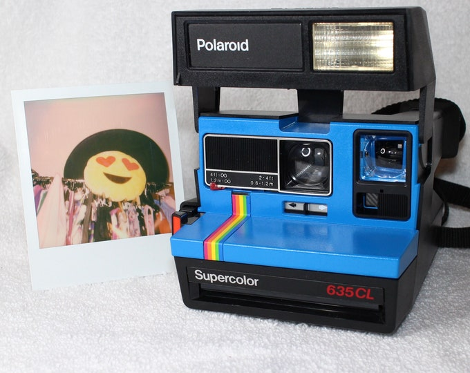 Upcycled Blue Rainbow Polaroid Supercolor 635CL With CloseUp Lens
