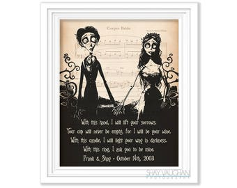 Tim burton decor etsy corpse bride print personalized with names and date corpse bride art with this hand quote tim burton wedding decor wedding gift engagement junglespirit Choice Image