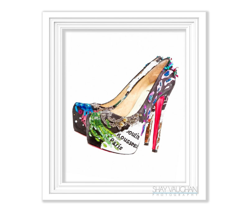 40193973dda Colorful Red Sole High Heel Shoes Art Print Watercolor Fashion