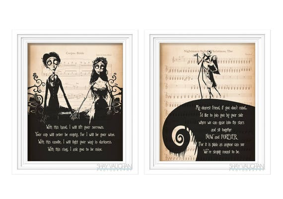 The Nightmare Before Christmas and Corpse Bride Art Print Set   Etsy