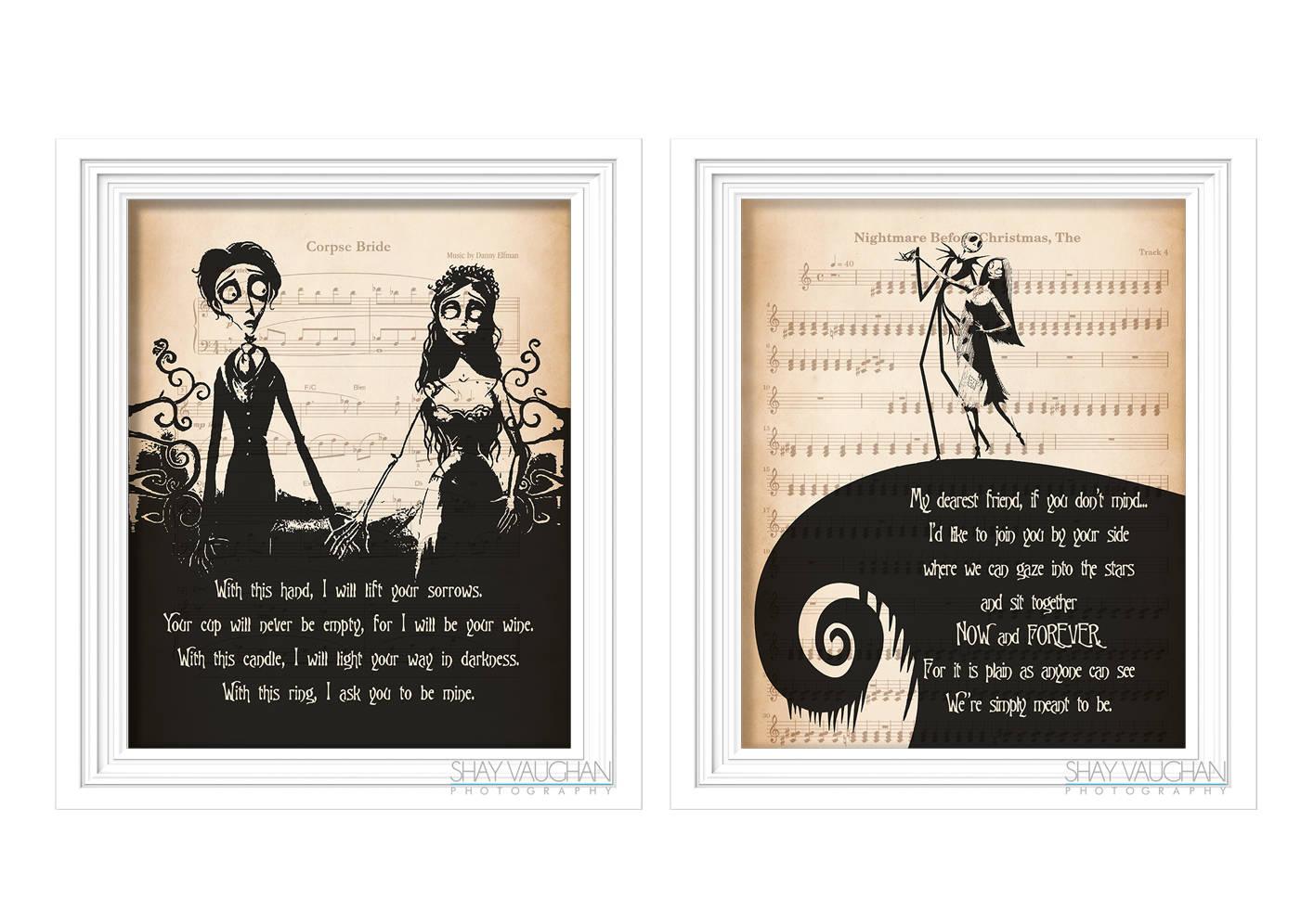 Der Alptraum vor Weihnachten und Corpse Bride Kunstdruck Tim   Etsy
