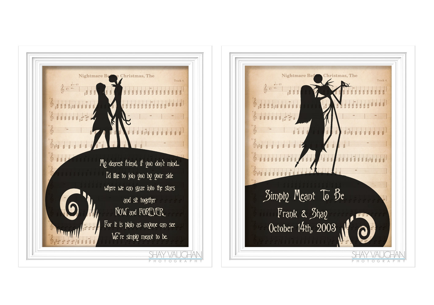The Nightmare Before Christmas Art 2 Print Set Personalized   Etsy