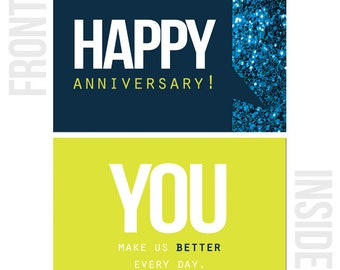 multi pack of 10 happy work anniversary cards etsy