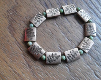 Willow: Copper Fern and Green Stone Beaded Bracelet