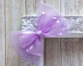 Spring Polka Dot Bow Easter lavender pastel Bow Spring Pastel Bow Easter Purple Pastel Bow Lavender Easter Bow solid purple bow
