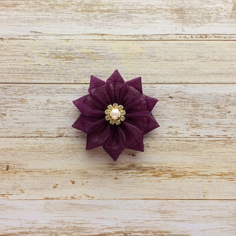 1ce27e07b882 Eggplant Flower Hair Clip Dark Purple Flower Bow Flower