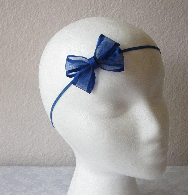 Toddler Girl Hair Bow Dark Royal Blue Hair Bow Baby Pictures Bow Small Blue Bow Headband Family Photos Bow Newborn Photos Bow