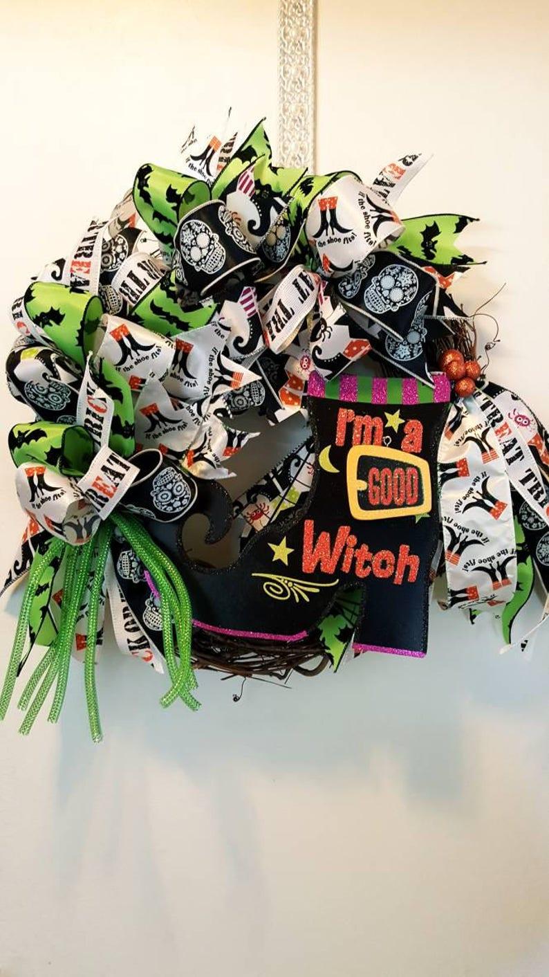 Halloween decor Funky bow halloween wreath Halloween wreath good witch bad witch wreath