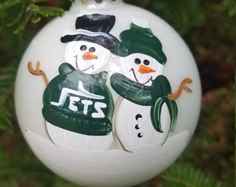 new york jets family personalized snowman christmas ornament handpainted gift