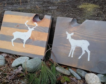Hand Painted Wood Rustic Distressed Sign - Set of 2 Doe and Buck Woodland Deer