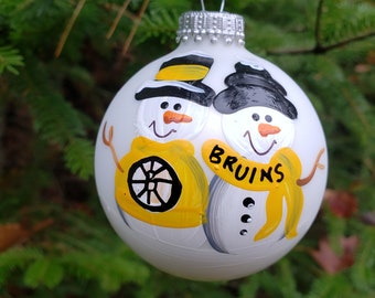 ONE Sports Team Snowman Personalized Christmas Holiday Ornament Your Choice