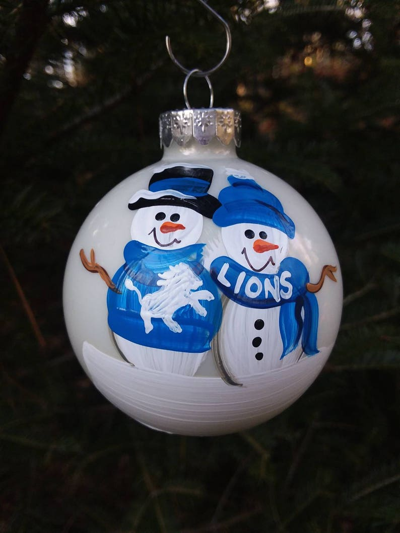 8e2cb1a5 Detroit Lions Family Personalized Snowman Christmas Ornament Handpainted  Gift