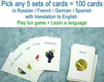 Any 5 sets of cards = 100 in French / German / Spanish / Russian with translation to English, Play fun game + Learn a language