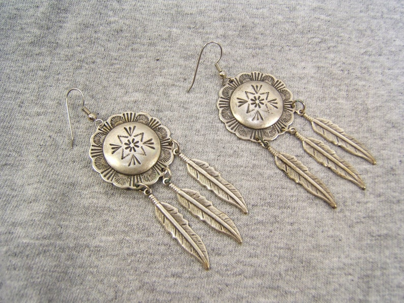 Free Shipping* #4418 Gift for Girlfriend Silver Dangle Earrings Western Southwestern Indian Style Handmade Vintage Cowgirl Jewelry On Sale