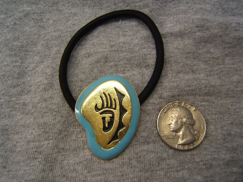 Indian Style Gold with Black or Turquoise Enamel Ponytail Holder Hair Tie Scrunchie Southwestern Jewelry Unisex Wife Husband Gift #80337-2
