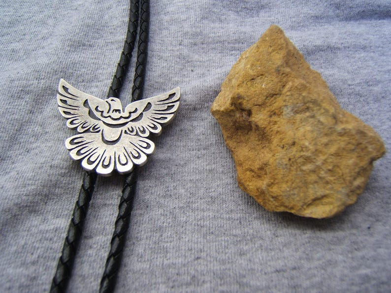 Thunderbird Silver Bolo Tie Bolo Ties Bolos Neckties Necklaces Rodeo Cowgirl Cowboy Western Jewelry Birthday Gift Free Shipping* #80389-1