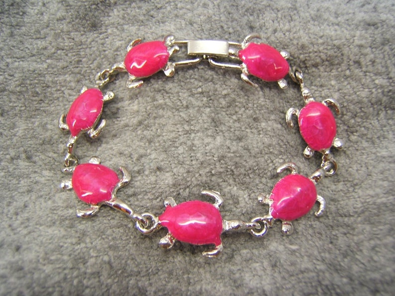 Turtle Bracelet Sea Turtle Jewelry Unisex Tropical Jewelry Silver with Paparazzi Pink Enamel Made In America Gifts for Girlfriend #50318-5