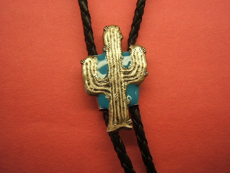 Southwestern Western Cactus Bolo Tie Silver Antique Bolas Cowboy Cowgirl Rodeo Jewelry Turquoise Background Gift Idea for Her Him #80140-1
