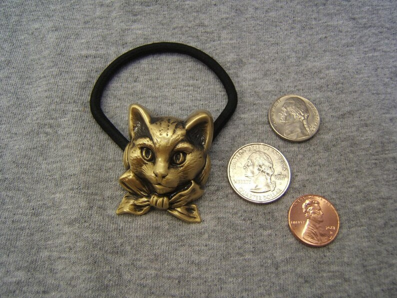 #60677-4 Antique Finish Gift for Her Him Cat Jewelry Ponytail Holders Pony Tail Holder Cat Ponytail Holder Hair Elastic Unisex Brass