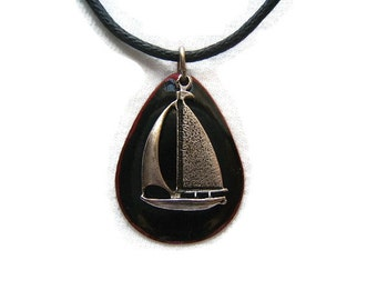Sailboat Necklaces, Gift Idea, Yachting, Nautical, Summer, Beach, Jewelry, Accessories, silver, antique finish, #80131-1