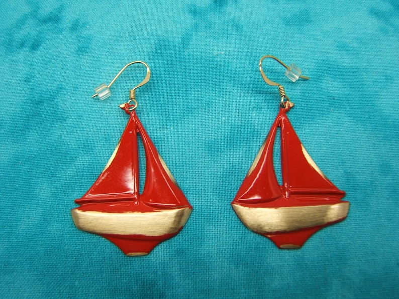 Brass Hilites #60455 Statement Earrings Tropical Nautical Earring Sailboat Earring Yachting Sea Life Boating Jewelry Assorted Enamel Colors