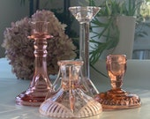 blush pink glass candleholder instant collection / bridal decor / wedding / depression glass