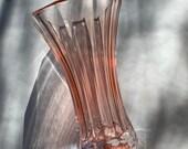 Blush pink FTD vase / wedding bridal shower decor / vintage glass